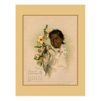 Vintages schöne Kinderzeichnen im August 1891 Postkarte