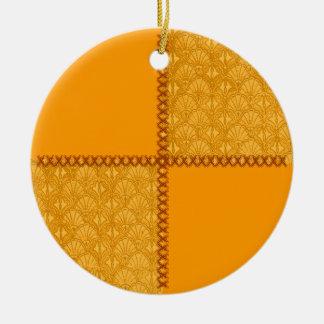 Vintages Schrott-altes Goldpatchwork-runde Rundes Keramik Ornament