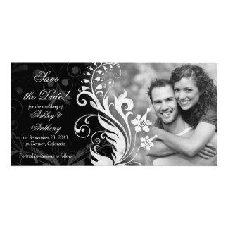 Vintages Schwarz-weißes mit Blumenwedding Save the Photokarten