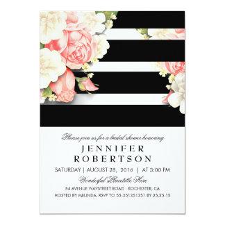 Vintages Schwarz-weißes Streifen-mit 12,7 X 17,8 Cm Einladungskarte