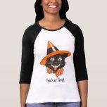 Vintages schwarze Katzen-Halloween-Shirt
