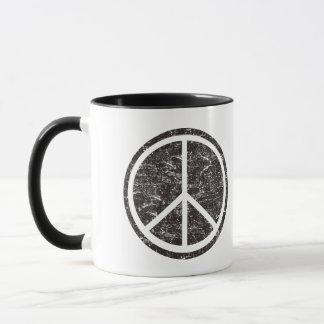 Vintages schwarzes Friedenszeichen Tasse