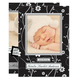 Vintages Schwarzes u. Weiß - Geburts-Mitteilung 12,7 X 17,8 Cm Einladungskarte