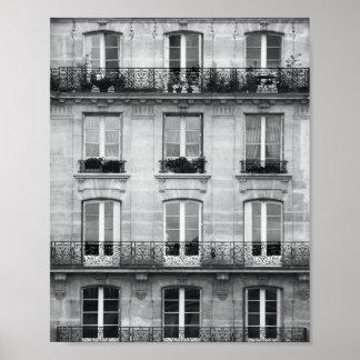 Vintages Schwarzweiss-Gebäude der Reise-| in Paris Poster