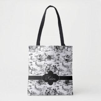 Vintages Schwarzweiss-Land Toile Tasche