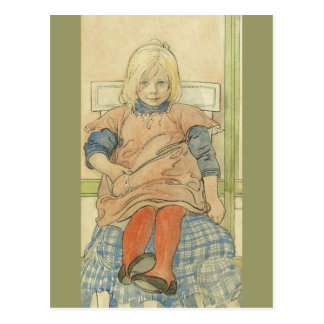 Vintages schwedisches Mädchen auf kariertem Stuhl Postkarte