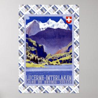 Vintages Schweizer Bahnluzern Interlaken Brunig Poster