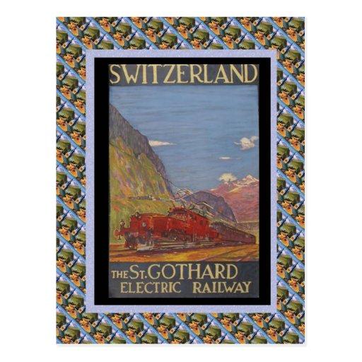 Vintages Schweizer Eisenbahn-St. Gotthard elektris Postkarten
