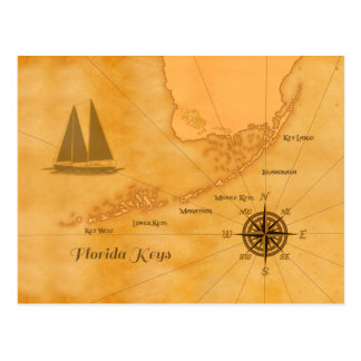 Vintages Seeflorida befestigt Karte
