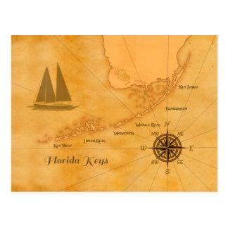 Vintages Seeflorida befestigt Karte Postkarte