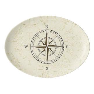 Vintages Seekompass-Elfenbein Porzellan Servierplatte