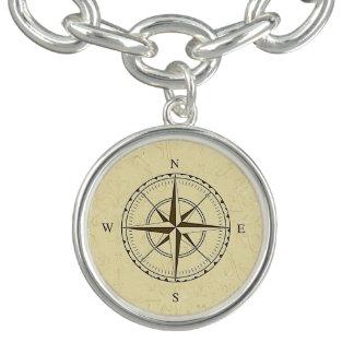 Vintages Seekompass-Rosen-Elfenbein Charm Armband