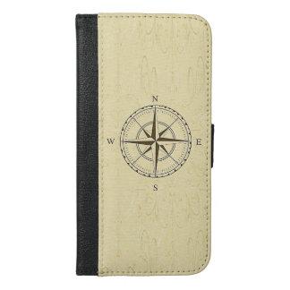 Vintages Seekompass-Rosen-Elfenbein iPhone 6/6s Plus Geldbeutel Hülle