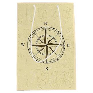 Vintages Seekompass-Rosen-Elfenbein Mittlere Geschenktüte