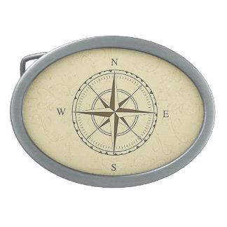 Vintages Seekompass-Rosen-Elfenbein Ovale Gürtelschnalle