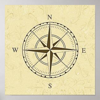 Vintages Seekompass-Rosen-Elfenbein Poster