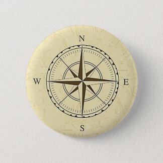 Vintages Seekompass-Rosen-Elfenbein Runder Button 5,7 Cm