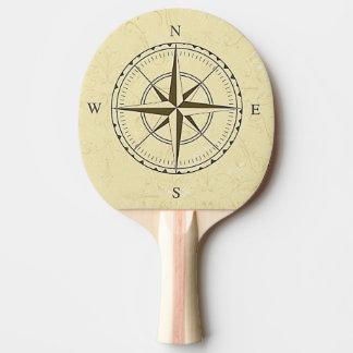Vintages Seekompass-Rosen-Elfenbein Tischtennis Schläger