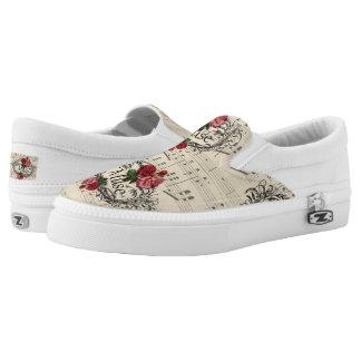 Vintages Shabby Chic-Blumenblatt-Musiknoten Muse Slip-On Sneaker