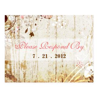 Vintages Shabby Chic-BlumenEmpfangs-Postkarte