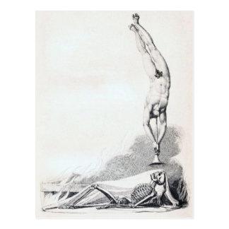 Vintages Skelett, das aufgerufen wird Postkarte