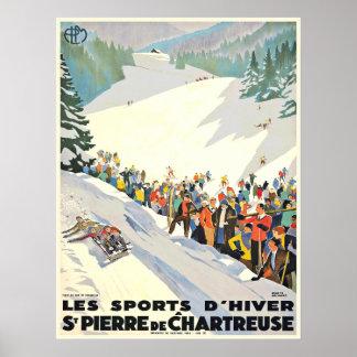 Vintages Ski-Erholungsort-Plakat von der Schweiz