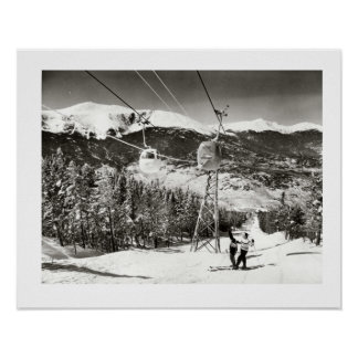 Vintages Ski iamge, Skilifte am Letzten Posterdrucke
