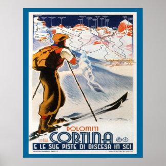 Vintages Ski-Plakat, Italien, DolomitCortina Poster