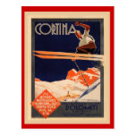 Vintages Ski-Plakat, Italien, DolomitCortina Postkarte