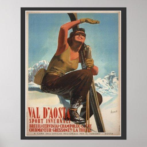 Vintages Ski-Plakat, Italien, Val d'Aosta