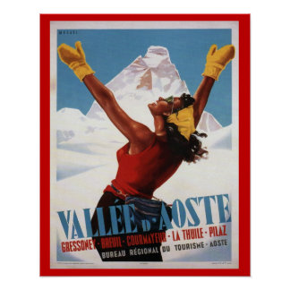 Vintages Ski-Plakat, Italien, Val d'Aosta Poster