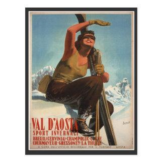 Vintages Ski-Plakat, Italien, Val d'Aosta Postkarte