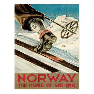 Vintages Ski-Plakat, Norwegen Postkarte