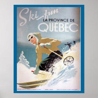 Vintages Ski-Plakat, Quebec für Wintersport Poster