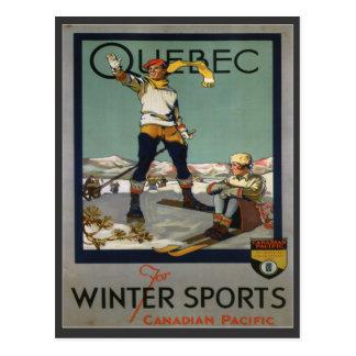 Vintages Ski-Plakat, Quebec Postkarte