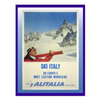 Vintages Ski-Plakat, Ski Italien, Alitalia Postkarte