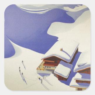 Vintages Ski-Plakat, Ski Österreich Quadrataufkleber