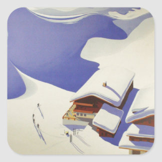 Vintages Ski-Plakat, Ski Österreich Quadrat-Aufkleber