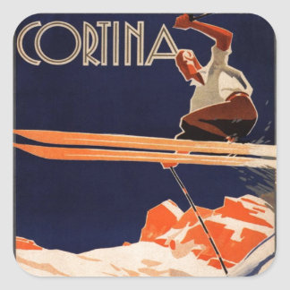 Vintages Ski-Plakat, SkiCortina, Italien Quadratischer Aufkleber