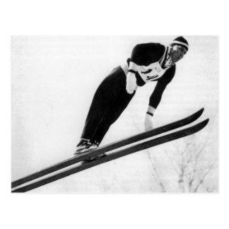 Vintages Skibild, entfernend! Postkarte