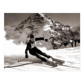 Vintages Skibild, Lauberhorn Rennen Postkarte