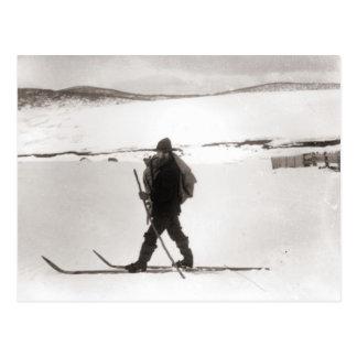 Vintages Skibild, Querlandskifahren Postkarte