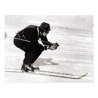 Vintages Skibild, Rennen für das Ende Postkarte
