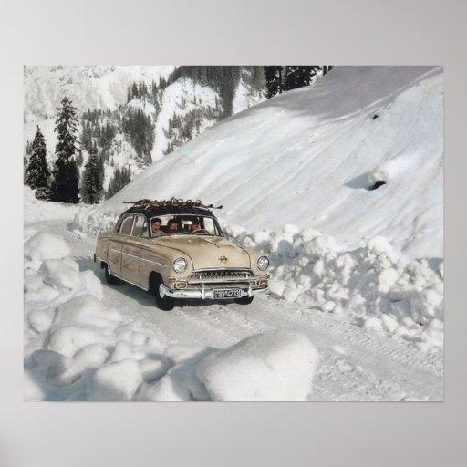 Vintages Skiplakat, Auto zum Piste Posterdruck