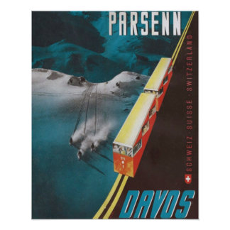 Vintages Skiplakat, Parsenn, Davos Poster