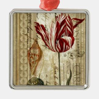 Vintages Skripte französisches Land-botanische Quadratisches Silberfarbenes Ornament