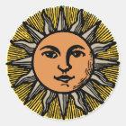 Vintages Sonnegesicht Runder Aufkleber