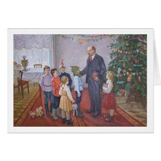 Vintages sozialistisches Realismus-Weihnachten mit Karte