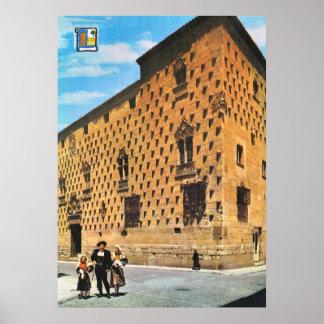 Vintages Spanien, Salamanca, Haus der Muscheln Poster