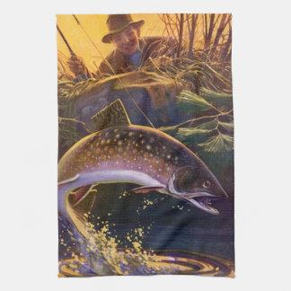 Vintages Sport-Forelle-Fisch-Fischen, Freigabe des Geschirrtuch